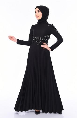 Schwarz Hijab-Abendkleider 8003-01