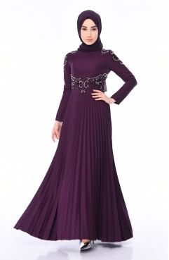 cfe085781b0b0 Claret red Islamic Clothing Evening Dress 81663-02