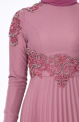 Beige-Rose Hijab-Abendkleider 8003-05