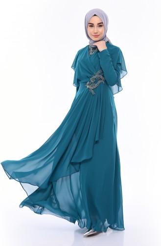 فساتين سهرة بتصميم اسلامي أزرق زيتي 8008-06