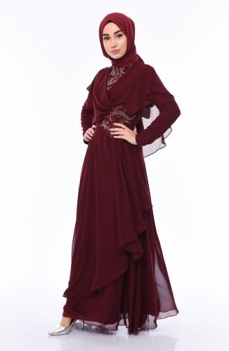 Claret red Islamic Clothing Evening Dress 8008-07