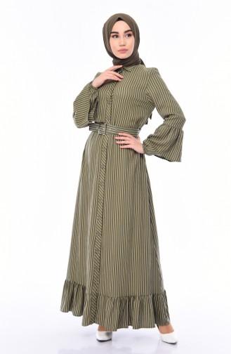 Çizgili Kemerli Elbise 81708-03 Haki