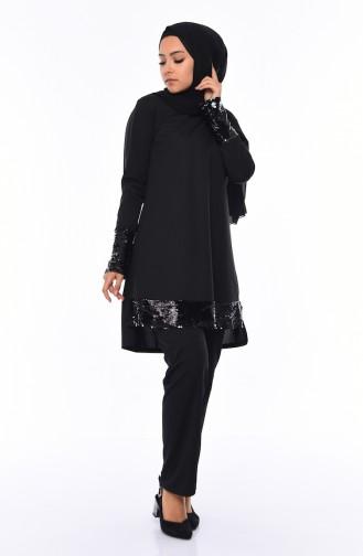 Payetli Tunik Pantolon İkili Takım 9055A-01 Siyah
