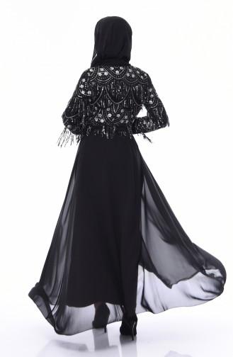 Payetli Kuşaklı Abaya 15005-02 Siyah Gümüş