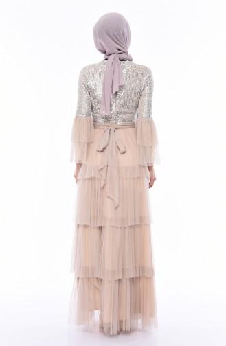 Beige Islamic Clothing Evening Dress 1150-01
