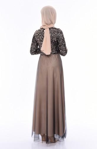 Beige Hijab-Abendkleider 3804-01