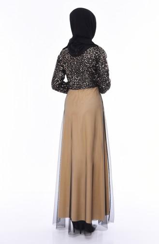 Payetli Tül Abiye Elbise 3804-02 Siyah Camel