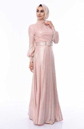 Powder Islamic Clothing Evening Dress 0050-01