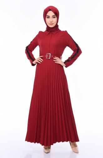 Kemerli Piliseli Elbise 81714-06 Bordo