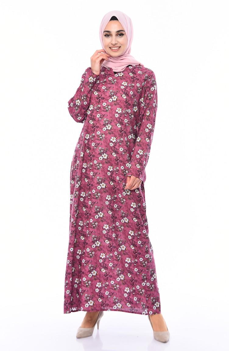 8af028ee00eaa Desenli Elbise 4000-01 Mürdüm