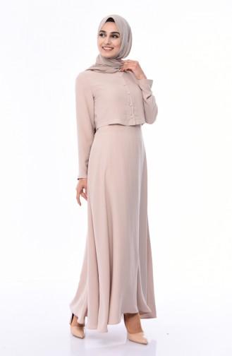 Düğme Detaylı Allerli Elbise 7058-07 Bej