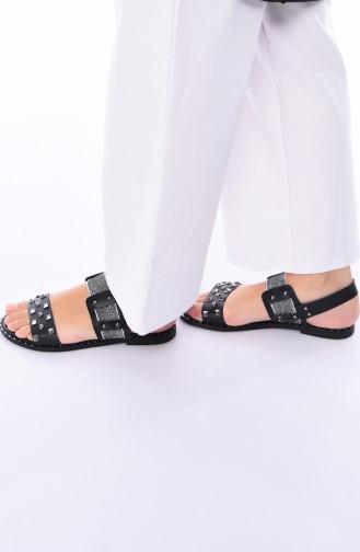 Bayan Zımbalı Sandalet 3808-01 Siyah