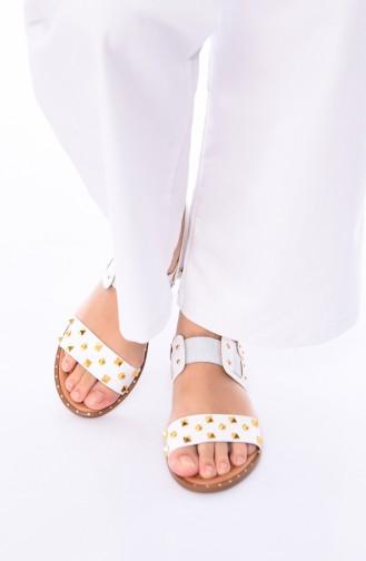 Bayan Zımbalı Sandalet 3808-03 Beyaz