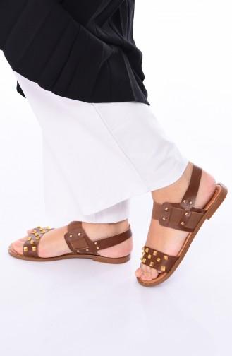 Bayan Zımbalı Sandalet 3808-05 Taba