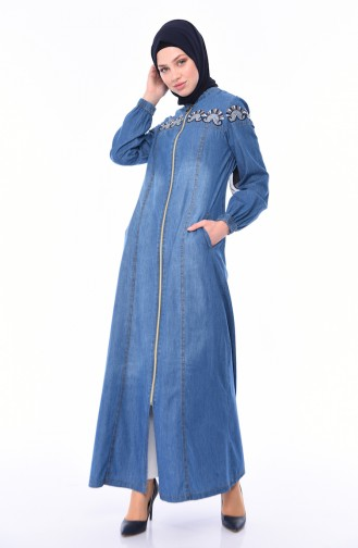 Nakışlı Kot Ferace 5163-01 Kot Mavi