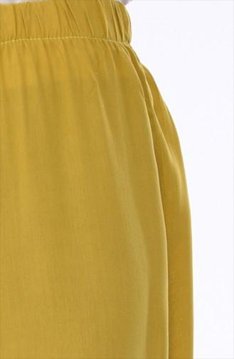 Lastikli Yazlık Bol Paça Pantolon 25026-01 Yağ Yeşil