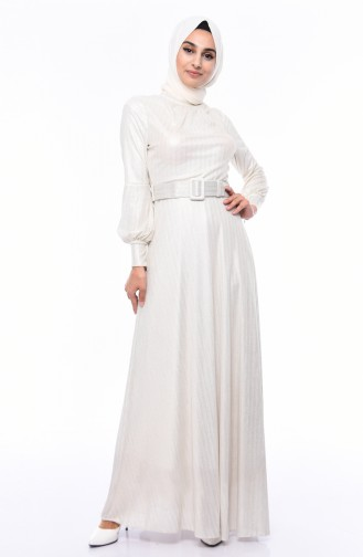 Ecru Islamic Clothing Evening Dress 0050-03