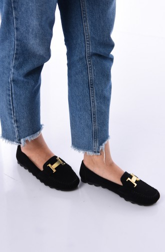 حذاء مسطح أسود 2021-08