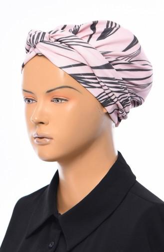 Gekräuselte Geknotete kombinierte Bonnet 1032-09 Puder Fuchsia 1032-09