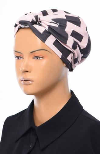 Gekräuselte Geknotete kombinierte Bonnet 1032-10 Schwarz Fuchsia 1032-10