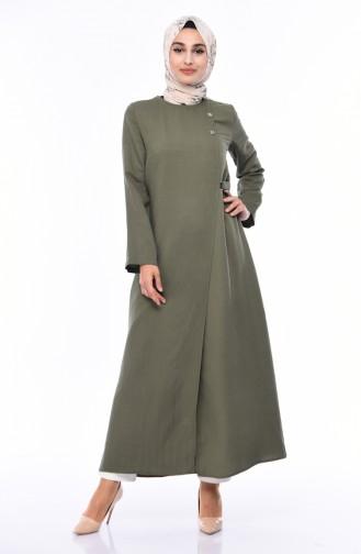 Abaya en Lin 6824-06 Vert Khaki 6824-06