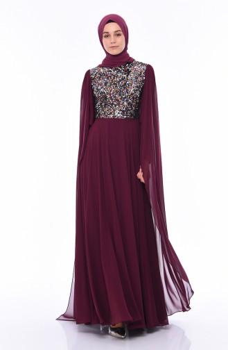 Robe de Soirée à Paillettes 4556-01 Plum 4556-01