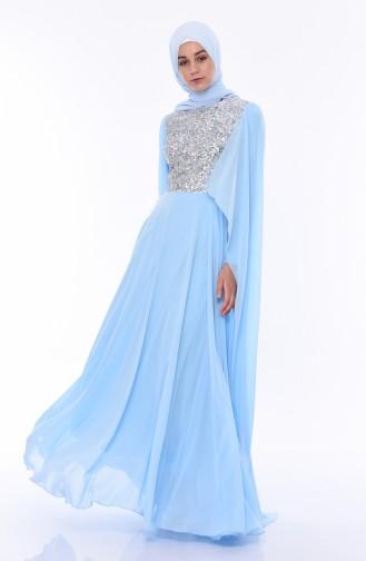 Babyblau Hijab-Abendkleider 4556-06