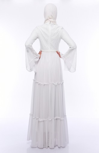 White Islamic Clothing Evening Dress 0049-04