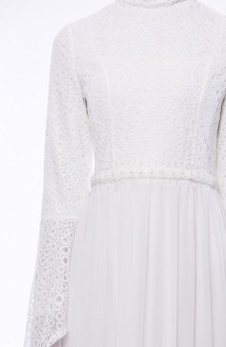 Dantelli Abiye Elbise 0049-04 Beyaz