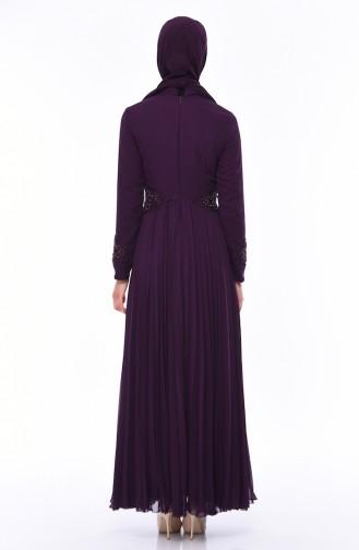 Purple Islamic Clothing Evening Dress 8010-01