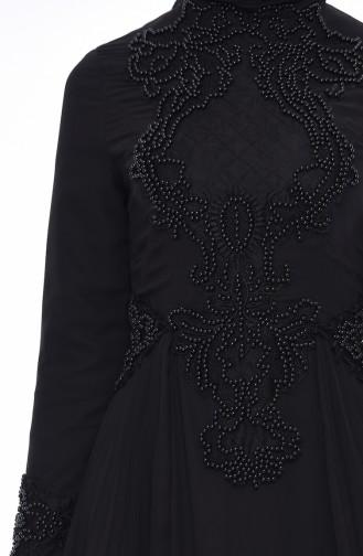Robe de Soirée Perlées 8010-02 Noir 8010-02