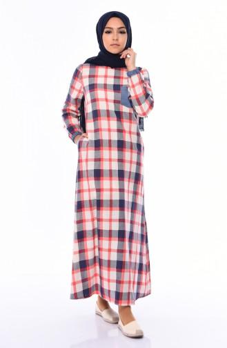Kareli Yazlık Elbise 0493-02 Lacivert Nar Çiçeği
