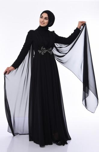 Black Islamic Clothing Evening Dress 8009-03