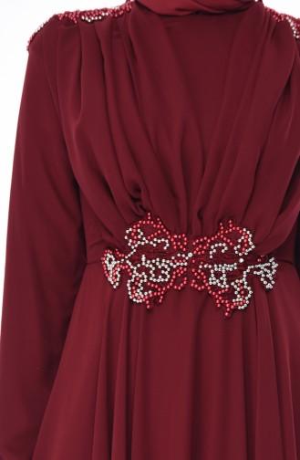 Claret red Islamic Clothing Evening Dress 8009-02