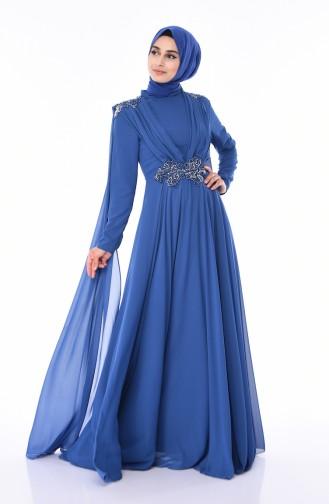 Indigo İslamitische Avondjurk 8009-05