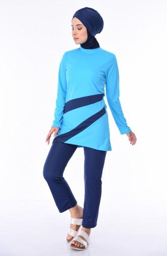 Türkis Hijab Badeanzug 1914-03