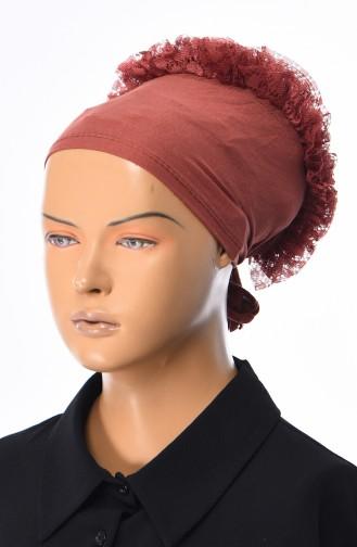 Spitzen Bonnet -13 Ziegelrot 13