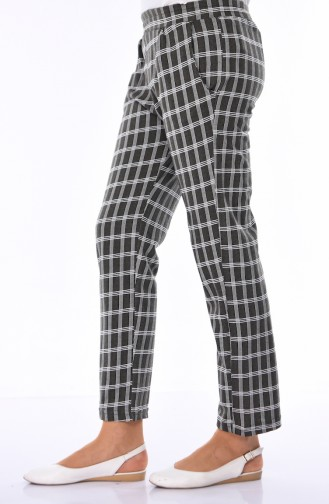 Pantalon a Carreaux 1005-07 Khaki Foncé 1005-07