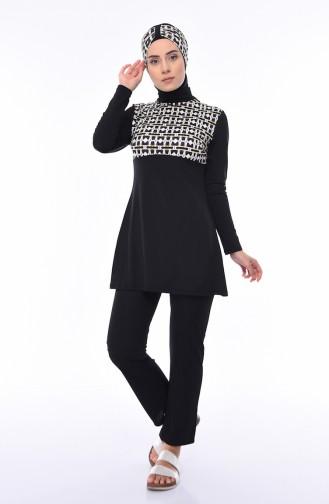 Maillot de Bain Hijab Noir 1846-01