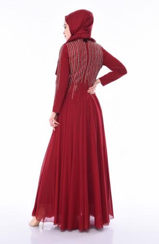 Claret red Islamic Clothing Evening Dress 2012-02