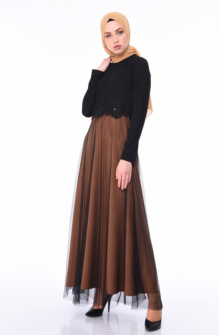 f0fe8a7483556 Mustard Islamic Clothing Evening Dress 3860-03
