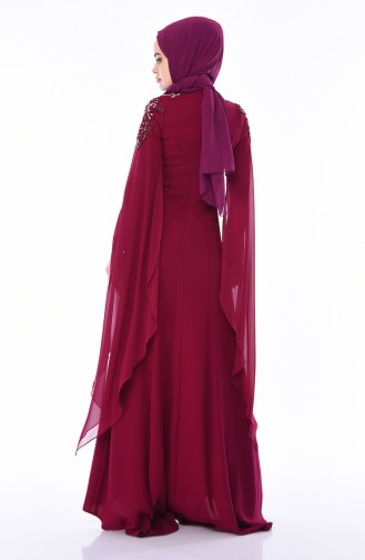 Robe de Soirée Brodée de Perles 4530-01 Plum 4530-01