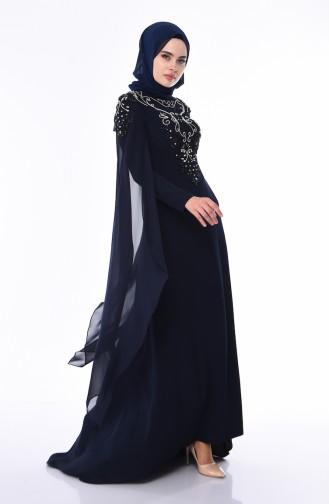 فساتين سهرة بتصميم اسلامي أزرق كحلي 4530-02