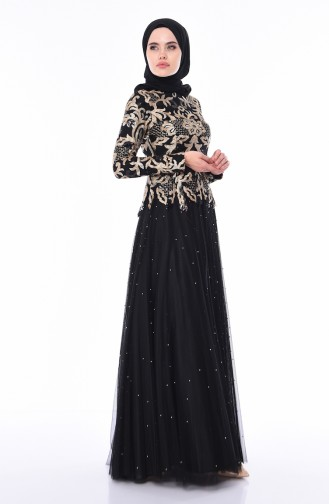 Robe de Soirée Perlées 4535-02 Noir 4535-02