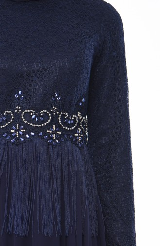 Navy Blue Islamic Clothing Evening Dress 4551-01