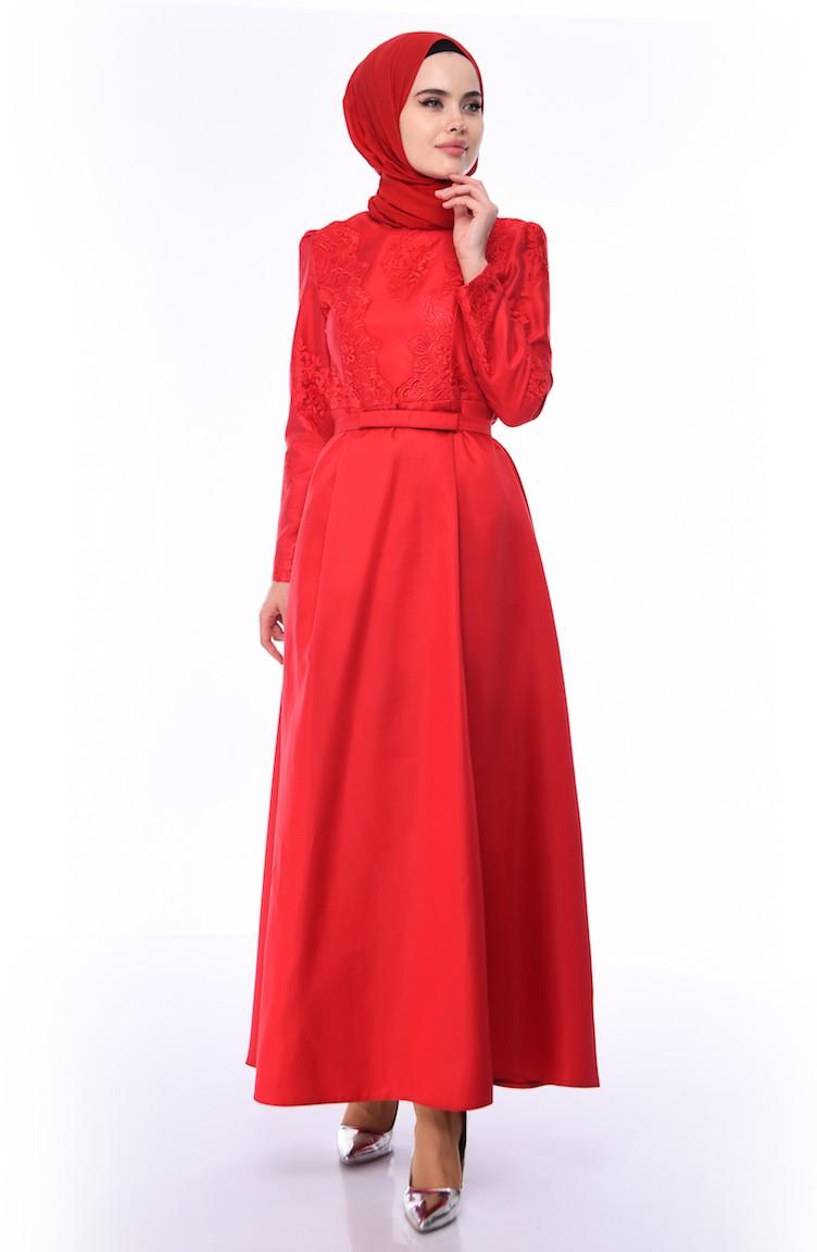 0a8d1eabd45cd Dantelli Abiye Elbise 8722-01 Kırmızı