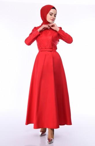 Rot Hijab-Abendkleider 8722-01