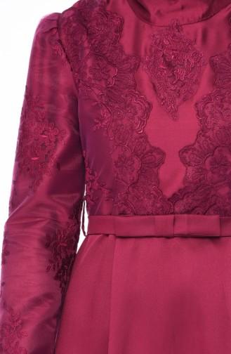 Plum Hijab Evening Dress 8722-02