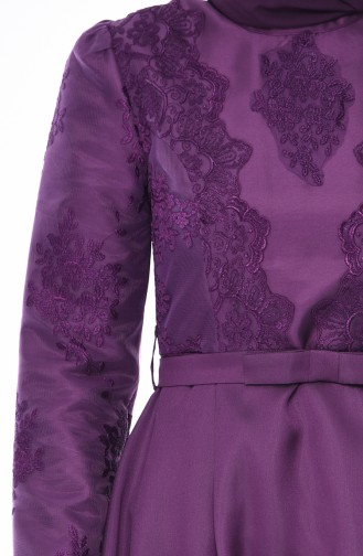 Purple Islamic Clothing Evening Dress 8722-03