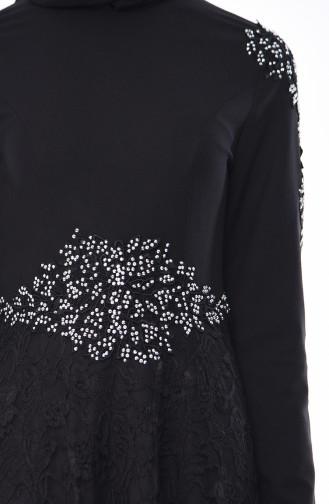 Schwarz Hijab-Abendkleider 8013-02